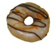 Vanilla Iced Donut with Orange & Brown Drizzle