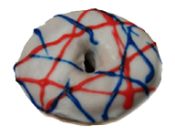 Red, White & Blue Yeast Ring Donut