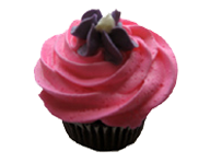 Pink Iced Cupcake with Purple Flower