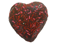 Chocolate Iced Custard Filled Heart Shaped Donut
