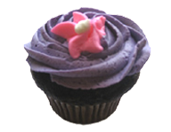 Purple Iced Cupcake with Pink Flower